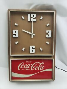 Coca-Cola Clock Plastic Wood Grain Vintage Impact International USA Made Coke