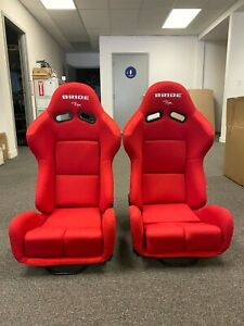 Pair Of Bride Gias V1 Red Plain Low Max Pair Reclining Mechanism Racing Seats
