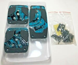 3pc Set Custom Hydro Dipped Racing Pedals Universal Non Slip Pad Cover Mt Manual