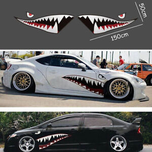 2x 59 Shark Mouth Tooth Teeth Sticker Vinyl Exterior Decal For Car Side Door