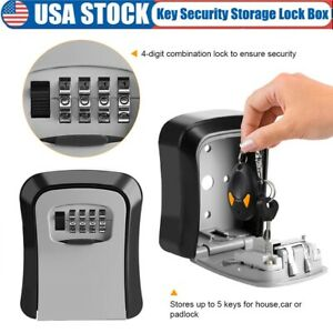 4 Digit Key Safe Security Storage Lock Box Combination Wall Mount Organizer Case