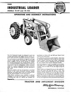 Ford Industrial Front Loader 19 97 19 105 Operating And Assembly Instructions