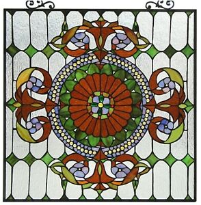 25 X 25 Victorian Tiffany Style Stained Glass Window Panel W Chain