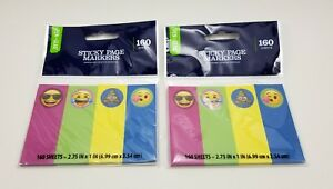 lot Of 2 Emoji Sticky Page Markers 160 Sheets 4 Colors 2 75 X 1 Faces
