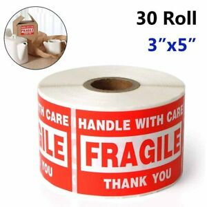 30 Roll 3x5 Big Fragile Stickers handle With Care thank You Shipping Labels