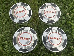 4 Vintage 1973 1987 Gmc Pick Up Truck Dog Dish 10 1 4 Hubcaps Very Nice