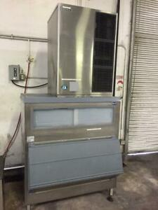 Used Self Contained 1300lb Hoshizaki Ice Maker On Follet Bin Single Phase