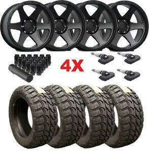 17 Black Wheels Rims Tires 33 12 50 33x12 50r17 Mud Mt Fuel Method