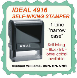 Custom 1 Line On Narrow Case Trodat Ideal Self Inking Rubber Stamp 4916 Black