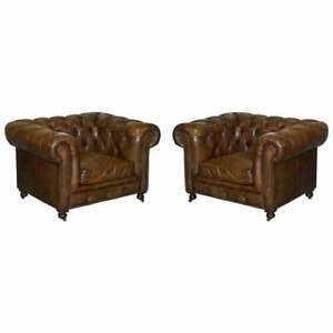 Pair Of Vintage Halo Asquith Brown Leather Chesterfield Armchairs Part Of Suite