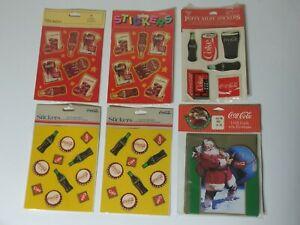 LOT OF VINTAGE Coca Cola Stickers & Gift Cards