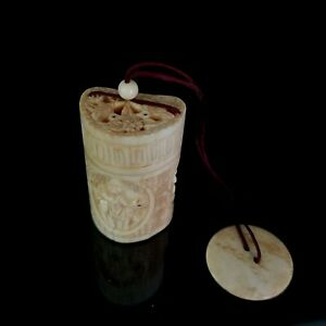 Japanese Hand Carved Bovine Bone Inro With Carved Disc And Ojime Bead Signed