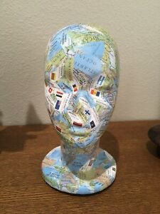 Decorative Decoupage Store Mannequin Display Head Wig Hat Holder World Flags
