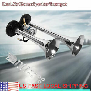 150db 12v Dual Trumpet Air Horn Compressor Kit For Train Car Truck Boat Loud New