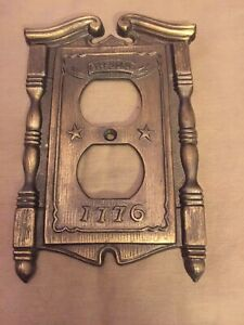 1968 Brass Early Americana Outlet Wall Plate American Tack Howe Co W Tag