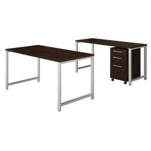 400 Series 60w X 30d Table Desk With Credenza And 3 Drawer Mobile File Cabinet
