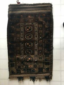 Old Hand Made Wool Camel Saddle Bag Rug Pillow Cover Cushion Turkish Antique