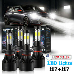 For Hyundai Tiburon 2003 2004 2005 4pcs H7 H7 Combo Led Headlight High Low Beam