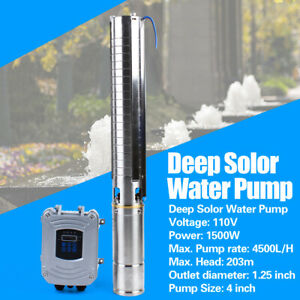 4 Dc Deep Well Solar Water Pump 110v 1500w Submersible Mppt Controller Kit Bore