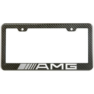 Amg Mercedes Benz License Plate Frame Carbon Fiber Look Style Glossy Plastic