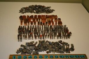 Huge Vintage Lot Of Wood Metal Printer s Letterpress Type Blocks Spacers