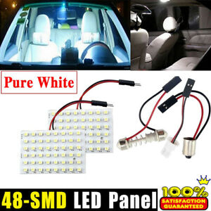 2 Pack 48 Smd Cob Led T10 White Light Car Interior Panel Lights Dome Lamp Bulb