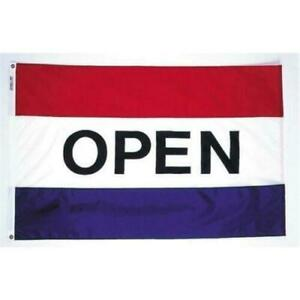 Made In Usa Open Flag By Annin Flagmakers 483502 Nylon Glo Stripe 3 X 5 Ft