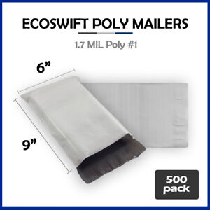500 6x9 Ecoswift Poly Mailers Plastic Envelopes Shipping Mailing Bags 1 7mil