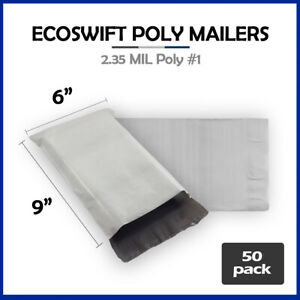 50 6x9 Ecoswift Poly Mailers Plastic Envelopes Shipping Mailing Bags 2 35mil