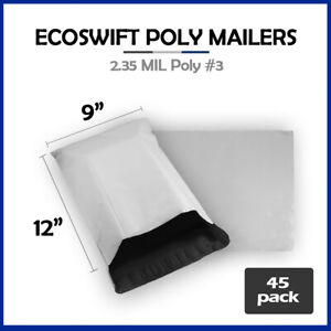 45 9x12 Ecoswift Poly Mailers Plastic Envelopes Shipping Mailing Bags 2 35mil