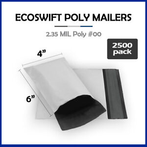2500 4x6 Ecoswift Poly Mailers Plastic Envelopes Shipping Mailing Bags 2 35mil