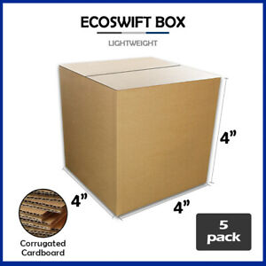 5 4x4x4 ecoswift Brand Cardboard Box Packing Mailing Shipping Corrugated