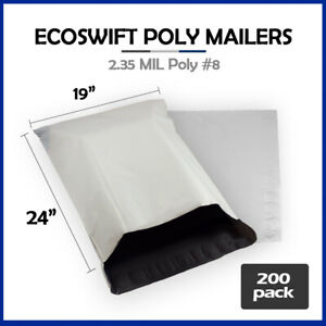 200 19x23 Ecoswift Poly Mailers Large Plastic Envelopes Shipping Bags 2 35mil