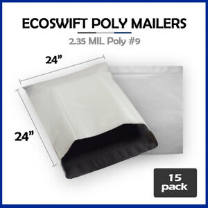 15 24x24 Ecoswift Poly Mailers Large Plastic Envelopes Shipping Bags 2 35mil