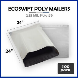 100 24x23 Ecoswift Poly Mailers Large Plastic Envelopes Shipping Bags 2 35mil