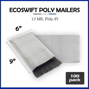 100 6x9 Ecoswift Poly Mailers Plastic Envelopes Shipping Mailing Bags 1 7mil