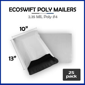 25 10x13 Ecoswift Poly Mailers Plastic Envelopes Shipping Mailing Bags 2 35mil