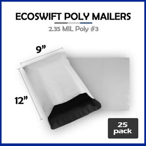 25 9x12 Ecoswift Poly Mailers Plastic Envelopes Shipping Mailing Bags 2 35mil