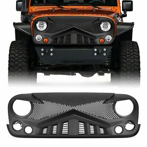 Black Abs Grill Front Bumper Grille For Jeep Wrangler Jk 07 18 New Design