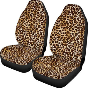 2pcs Front Seat Cover Polyester Yellow Leopard Print Suv Truck Protector Cushion