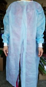 10 Blue White Isolation Medical Dental W Knit Cuff Gowns
