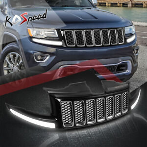 led Drl Honeycomb Mesh Front Bumper Grille For 14 16 Jeep Grand Cherokee Srt8