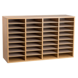 Adiroffice Literature Organizer Sorter Wood 36 Compartment Storage Medium Oak