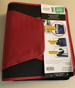 Nwt Mead Five Star Red Black 1 5 Zipper Binder 500 Sheet Capacity
