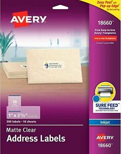 Avery 18660 Clear Address Labels For Inkjet Printers 1 X 2 5 8 300 Labels