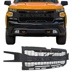 For 2019 2020 Chevrolet Silverado 1500 Black Front Grille With 3 Led Lights