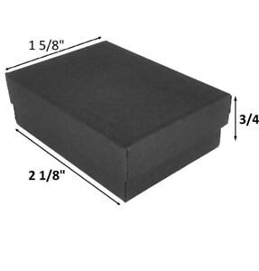 100 Matte Black Cotton Insert Gift Cardboard Paper Boxes Earring Pins Jewelry