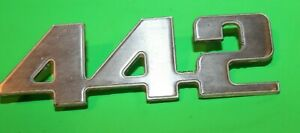 Original Cutlass 442 Emblem Badge Script Trim Metal Decal Sign Vintage Car