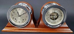 Chelsea Ships Bell Clock Barometer 1950 S W Nickel Plated Case Wooden Stand
