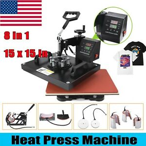 15 x15 Heat Press Machine Digital Printing Diy 8 In 1 Sublimation For T shirt
